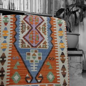 Décoration orange, Housse de coussin kilim par KaravaneSerail