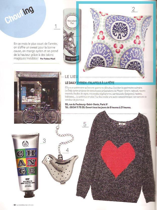 Le coussin Kotyora par KaravaneSerail dans le magazine Le Courrier de l'Atlas (page 1)
