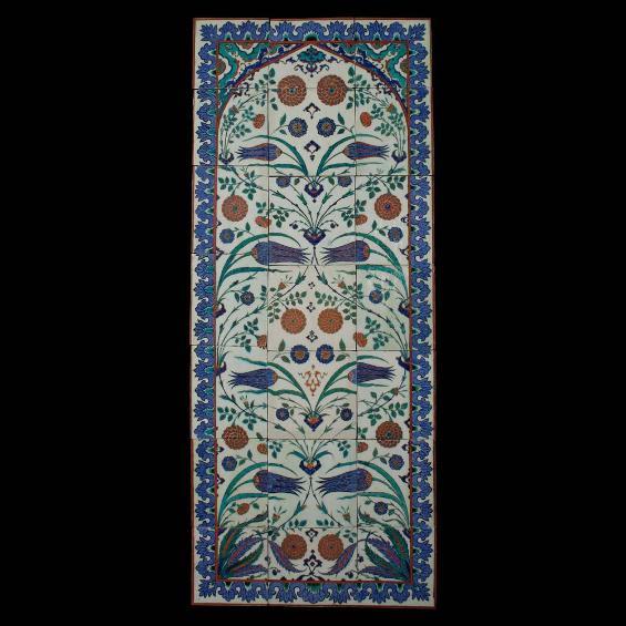 Carreaux décoratifs en céramique d'Iznik de style Kara Memi