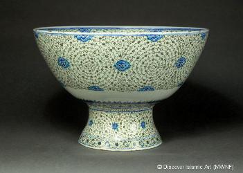 Coupe en céramique d'Iznik style Tugrakes spiralé